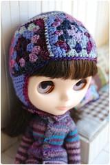 Himitsu in granny helmet (megipupu) Tags: hat handmade crochet helmet blythe granny megipupu primadollytokyo