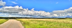 The Road Less Travelled (H.B. Mejia) Tags: summer panorama beautiful clouds rural spectacular landscape photography colorful artistic rustic sunny alberta stunning blueskies rollinghills grasslands gravelroad greengrass windingroad phenomenal summerweather summerclouds beautifulskies dramaticskies southernalberta theroadlesstravelled stunningphotography spectacularphotography fluffyskies