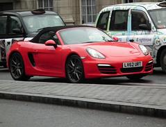 Porsche Boxster 981 (kenjonbro) Tags: uk red england snow cold london westminster trafalgarsquare convertible porsche boxster cabrio charingcross sw1 roadster h6 981 flat6 2013 27l worldcars kenjonbro fujifilmfinepixhs10 2706cc lv62urt