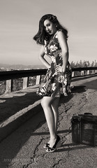 Long Trip... (Anna Krivenkoff) Tags: california road city trip portrait sky girl beauty face pose hair photography us losangeles shoes dress wind suitcase nikond5000 annakrivenkoff wwwannakrivenkoffcom