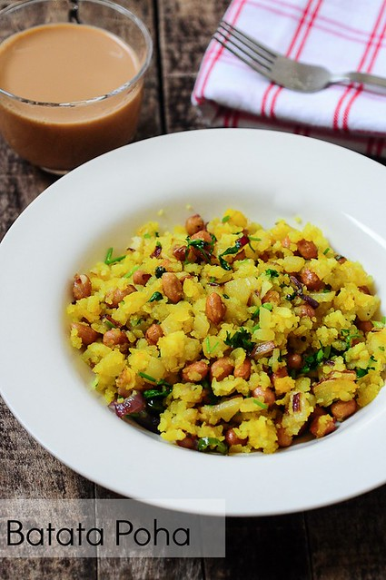 Potato Poha-Batata Poha Recipe-Easy Indian Breakfast