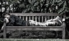 Park Life 1 (Vide Cor Meum Images) Tags: park street london bench mono eyes fuji candid watching streetphotography foliage asleep cor aware vide hs20 meum markcoleman hs20exr mac010665yahoocouk videcormeumimages ilobsterit markandrewcoleman