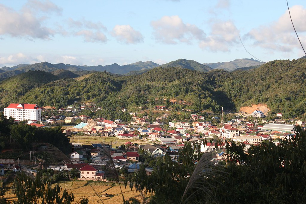 Scenic view of downtown, Sam Neua, Northern Laos