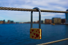 Wired (Tilghar) Tags: blue red copenhagen hearts fun denmark gold islands europe day heart lock hanging padlock brygge