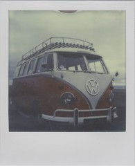 Love (Lizzie Staley) Tags: red camp sky white colour film beach vw project volkswagen polaroid sx70 cloudy instant van campervan impossible px70