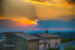 Sunset above French old village (Yan Lerval) Tags: 2016 france hdr novezan blue clouds colorful colours countryside houses landscape orange roofs stones sun sunset tiles venterol auvergnerhnealpes fr