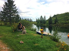 """""""Every day you are alive and someone loves you is a miracle.""""  -Rita Mae Brown (Trinimusic2008) Tags: trinimusic2008 judymeikle nature bench hbm alberta summer august 2016 vacation travels canada iphone manmadelake child water grass trees peggyted"""
