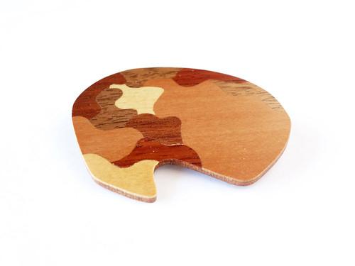 OOAK Wood Inlay Brooch.