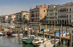 Docked boats along the Grand Canal in Venice