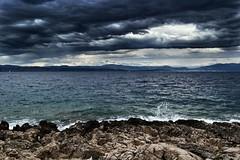 Just can't run away from the blue. (nanchilo) Tags: landscape blue sea adriatic croatia waves sky clouds rainy nature nikon nikonphotography nikond3100