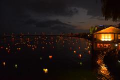 sunset 3534 (junjiaoyama) Tags: japan tradition ritual spirit lantern float ceremony buddhist memorial service event lake river