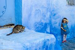 The girl and the cat (hammockbuddy) Tags: ifttt 500px girl street cat social 2014 nikon d3s marruecos chaouen