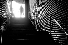 Stairway to... (Pierre Pichot) Tags: black white street streets streetphotography blackandwhite blackwhite bucharest romania stairs shadows light silhouettes woman old man lines graphic contrast monochrome fuji fujifilm x100t pierre pichot city urban indoor