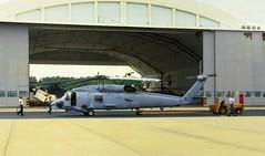 Shades of grey (crusader752) Tags: usnavy sikorsky sh60b seahawk unitedstatesnavy usn ntcpatuxentriver navaltestcentre tug hangar helicopter chopper 1987
