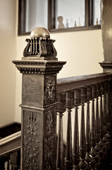 Who stole the ornament? (Tiigra) Tags: chicago illinois unitedstates us 2015 architdetail interior lattice ornament stairs wood