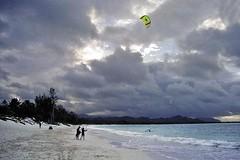 Kailua Beach (4) (AntyDiluvian) Tags: hawaii 2001 30thanniversary oahu northshore beach kailuabeach whitesand surf kiteboarding clouds kitesurfing kailua