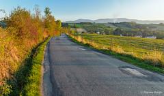Village road (z.dorighi) Tags: village road cottage mountains autumn asphalt field across through sunset warm light golden hour yellow trees