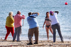 The Model (Nick Fewings 4.5 Million Views) Tags: group five colours colourful beach 2016 september focus lens uk dorset mudeford nickfewings photography shoot glamour pose shore ocean sea woman female bikini model photographers