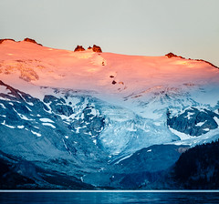Last Light on Sphinx Glacier (Brady Baker) Tags: canada british columbia garibaldi lake glacier mountain snow ice sunset dusk glow red explorebc bc park parkscanada travel hiking backpacking camping nature outdoors color colour rockies snowcapped glacial light golden hour blue