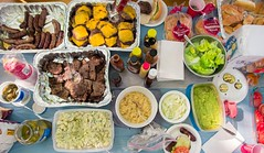 Picnic Picnic! (Josh Liba) Tags: summer food chicken cheese table salad picnic burger tomatoes samsung bbq chips meat grill onions pork potato burgers american napkins ribs sausages guacamole barbeque dip coleslaw ex1 tl500