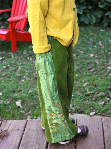 Green cord treasure pocket pants with Heather Ross side panels