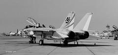 158627 Grumman F-14A VF-124 NJ407 (eLaReF) Tags: bw white black airplane f14 aviation navy aeroplane naval miramar usn tomcat grumman navalaviation f14a knkx nkx vf124 158627 nj407