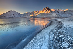 King Winter - Lake Klingavatn in Landmannalaugar, Iceland (orvaratli) Tags: winter mountain lake snow cold reflection fall ice sunrise iceland glow highland landmannalaugar arcticphoto klingavatn