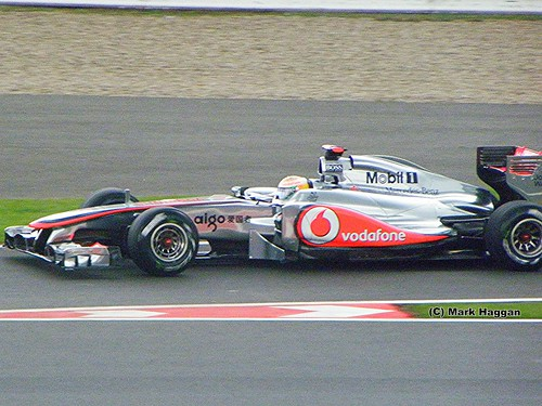 Lewis Hamilton in his McLaren F1 car at the 2011 British Grand Prix at Silverstone