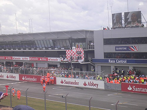 The podium celebration with Lewis Hamilton winning the 2008 British Grand Prix