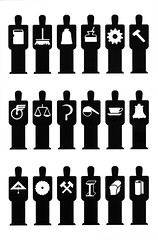 Men pictograms  (1936) (Unkee E.) Tags: art sign illustration vintage typography corporate design graphicdesign graphic system communication identity signage identification information pictograms pictographs isotype identifier gerdarntz isotypes