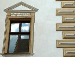 Regensburg, Germany, Renaissance Building Decoration (Mary Warren (6.3+ Million Views)) Tags: reflection window lines architecture germany triangle decoration regensburg renaissance supershot