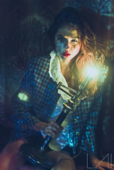 Tearing with beauty of fear and strength (Atmosphere Light Photography) Tags: blue light red lamp beautiful fashion bulb vintage photography anne pretty fear atmosphere lips vogue ugly editorial fujifilm tear available fearless s5pro
