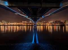 Underneath The Bridge (Scott Baldock Photography) Tags: city nightphotography bridge blue reflection building london water thames modern night buildings reflections river landscape vanishingpoint nikon long exposure cathedral tate under stpauls millenium millennium estuary tamron vanishing riverthames cityoflondon lightroom cityarchitecture