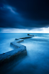 Breakwater Blues (been snapping) Tags: uk longexposure blue seascape water canon coast scotland pier fife sigma 7d stmonans schotland ecosse slowwater eastneuk fifecoastalwalk leebigstopper