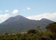 View of Mount Vesuvius from Pompeii
