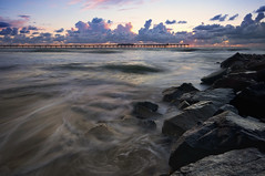 A - f r a m e s (Lee Sie) Tags: ocean sunset sea sky seascape water clouds coast pier marine rocks surf day waves pacific sandiego cloudy jetty tide wideangle coastal oceanbeach ob sandbeach