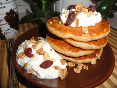 Pancake morning (chocolate_soul) Tags: morning pancakes breakfast dorset wholewheat musli cottagecheese