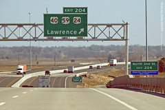 Approaching E Lawrence exit on Turnpike, 17 Feb 2012 (photography.by.ROEVER) Tags: road sign drive highway ramp driving kansas interstate turnpike tollway exit february i70 2012 interchange interstate70 offramp kta overheadsign kansasturnpike driverpic exit204 february2012 eastlawrenceinterchange