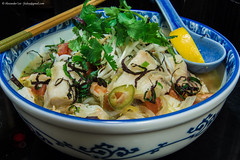 Vietnamese Fish and Shrimp Noodle Soup - Bun Cahn Ngot (feidoy) Tags: food fish hot home cooking dinner asian october san francisco vietnamese rice herbs sale south stock large shrimp bowl east meal seafood noodle slurp cilantro bun fishsauce greenonion 2012 scallion perilla wholefoodsmarket meyerlemon sablefish blackcod butterfish feidoy canhngot