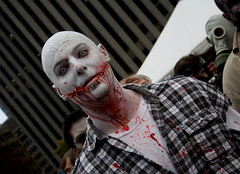 pale zombie. (moloko-vell0cet) Tags: white toronto halloween make up scary blood eyes bright zombie walk pale creepy contacts horror yonge zombies dundas 2012