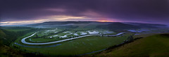 Cuckmere Valley Sunrise Panorama (JamboEastbourne) Tags: england panorama canon sussex pano frog east valley alfriston cuckmere firle 50d highandover