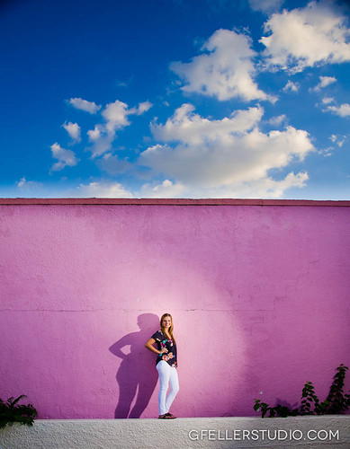 Pink Wall Senior Portrait in Oklahoma