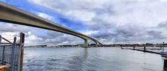 Itchen Bridge Southampton (fatboydon) Tags: bridge sky panorama water clouds river jetty hampshire southampton itchen