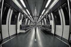 POLISH (draken413o) Tags: life urban monochrome train circle still singapore empty line fisheye mrt spaces defish