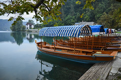 Pletna Boats - Lake Bled, Slovenia (ChuckPalmer {cepalm}) Tags: travel lake boat europe slovenia bled pletna