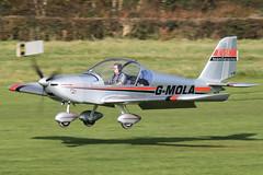G-MOLA - 2012 build Aerotechnik/Cosmik EV-97 Eurostar, landing at Barton (egcc) Tags: manchester eurostar barton cityairport ev97 3937 cosmik aerotechnik teameurostar egcb rotax912 gmola