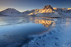Thin Ice - Klingavatn near Landmannalaugar, Iceland (orvaratli) Tags: winter mountain lake snow cold ice sunrise frozen iceland arctic landmannalaugar klingavatn