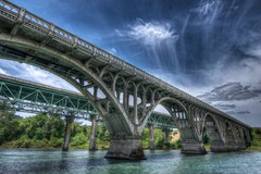 Winchester Bridges, Oregon (Thad Roan - Bridgepix) Tags: bridge sky water clouds oregon river concrete photo arch image roseburg picture historic winchester span hdr thad roan facebook d800 mccullough northumpqua 201205 bridgepix