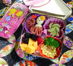 So Cute TinySprite Cube Bento (sherimiya ) Tags: school lunch kid healthy corn cucumber sheri broccoli delicious homemade meal raspberry bento blackberries salami cantaloupe obento quailegg pickledvegetables sherimiya ecolunchbox