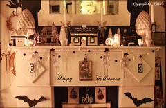 Happy Halloween ! (Boxwoodcottage) Tags: trees white house black halloween bottle october village cabinet banner garland brush haunted boo card witches 31 bats mantle 2012 pompom skelletons